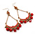 Gold Plated Coral Bead Chandelier Earrings - 8cm Drop - view 8
