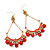 Gold Plated Coral Bead Chandelier Earrings - 8cm Drop - view 2