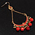 Gold Plated Coral Bead Chandelier Earrings - 8cm Drop - view 7