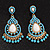 Gold Plated Turquoise Style Bead Chandelier Earrings - 6.5cm Drop