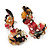 Exquisite Double Flower Acrylic Drop Earrings (Red, Black & Brown) - 6cm Length - view 7