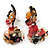 Exquisite Double Flower Acrylic Drop Earrings (Red, Black & Brown) - 6cm Length - view 3
