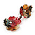 Exquisite Double Flower Acrylic Drop Earrings (Red, Black & Brown) - 6cm Length - view 5