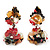 Exquisite Double Flower Acrylic Drop Earrings (Red, Black & Brown) - 6cm Length