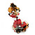 Exquisite Double Flower Acrylic Drop Earrings (Red, Black & Brown) - 6cm Length - view 2