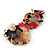 Exquisite Double Flower Acrylic Drop Earrings (Red, Black & Brown) - 6cm Length - view 4