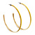 Yellow Enamel Thin Hoop Earrings (Gold Plated Metal) - 6cm Diameter