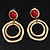 Matt Gold Tone Double Hoop Coral Stone Drop Earrings - 5cm Length