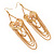 Long Chain 'Cameo' Heart Drop Earrings (Gold Plated Metal) - 13cm Length - view 2