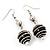 Silver Tone Black Faux Pearl Drop Earrings - 5.5cm Drop - view 2