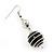 Silver Tone Black Faux Pearl Drop Earrings - 5.5cm Drop - view 3
