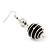 Silver Tone Black Faux Pearl Drop Earrings - 5.5cm Drop - view 4
