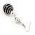 Silver Tone Black Faux Pearl Drop Earrings - 5.5cm Drop - view 5