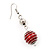 Silver Tone Bright Red  Faux Pearl Drop Earrings - 5.5cm Drop - view 3