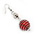 Silver Tone Bright Red  Faux Pearl Drop Earrings - 5.5cm Drop - view 4