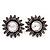 Burn Silver 'Sunflower' Diamante Stud Earrings - 3cm Diameter - view 8