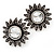 Burn Silver 'Sunflower' Diamante Stud Earrings - 3cm Diameter - view 1