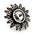 Burn Silver 'Sunflower' Diamante Stud Earrings - 3cm Diameter - view 5