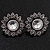 Burn Silver 'Sunflower' Diamante Stud Earrings - 3cm Diameter - view 2