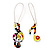 Multicoloured 'Musical Notes' Drop Earrings (Silver Tone Metal) - 7cm Length - view 2