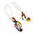 Multicoloured 'Musical Notes' Drop Earrings (Silver Tone Metal) - 7cm Length - view 5