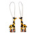 Funky Giraffe Drop Earring In Rhodium Plated Metal - 6cm Length - view 1