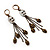 Bronze Tone Diamante Skull Dangle Earrings - 8.5cm Drop - view 8