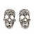 Small Dazzling Crystal Skull Stud Earrings In Silver Plating - 2cm Length - view 10