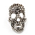 Small Dazzling Crystal Skull Stud Earrings In Silver Plating - 2cm Length - view 11