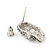 Small Dazzling Crystal Skull Stud Earrings In Silver Plating - 2cm Length - view 13