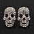 Small Dazzling Crystal Skull Stud Earrings In Silver Plating - 2cm Length - view 8