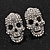 Small Dazzling Crystal Skull Stud Earrings In Silver Plating - 2cm Length - view 15