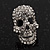 Small Dazzling Crystal Skull Stud Earrings In Silver Plating - 2cm Length - view 14
