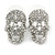 Small Dazzling Crystal Skull Stud Earrings In Silver Plating - 2cm Length - view 17
