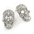 Small Dazzling Crystal Skull Stud Earrings In Silver Plating - 2cm Length - view 7