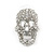 Small Dazzling Crystal Skull Stud Earrings In Silver Plating - 2cm Length - view 9