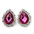 Pink Crystal Teardrop Stud Earrings In Silver Tone Metal - 2.5cm Length
