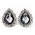 Light Grey Crystal Teardrop Stud Earrings In Silver Tone Metal - 2.5cm Length