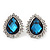 Sky Blue Crystal Teardrop Stud Earrings In Silver Tone Metal - 2.5cm Length - view 1