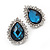 Sky Blue Crystal Teardrop Stud Earrings In Silver Tone Metal - 2.5cm Length - view 3