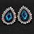 Sky Blue Crystal Teardrop Stud Earrings In Silver Tone Metal - 2.5cm Length - view 2