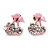 Tiny Light Pink Enamel Diamante Sweet 'Cherry' Stud Earrings In Silver Tone Metal - 10mm Diameter