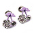 Tiny Lavender Enamel Diamante Sweet 'Cherry' Stud Earrings In Silver Tone Metal - 10mm Diameter - view 2