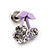 Tiny Lavender Enamel Diamante Sweet 'Cherry' Stud Earrings In Silver Tone Metal - 10mm Diameter - view 3