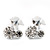 Tiny White Enamel Diamante Sweet 'Cherry' Stud Earrings In Silver Tone Metal - 10mm Diameter
