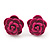 Tiny Deep Pink 'Rose' Stud Earrings In Silver Tone Metal - 10mm Diameter - view 1