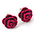 Tiny Deep Pink 'Rose' Stud Earrings In Silver Tone Metal - 10mm Diameter - view 2