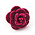 Tiny Deep Pink 'Rose' Stud Earrings In Silver Tone Metal - 10mm Diameter - view 4