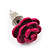 Tiny Deep Pink 'Rose' Stud Earrings In Silver Tone Metal - 10mm Diameter - view 5
