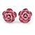 Tiny Light Pink 'Rose' Stud Earrings In Silver Tone Metal - 10mm Diameter - view 1